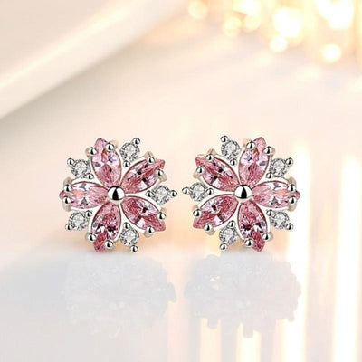 Earrings - Pink Snowflake Silver Earrings