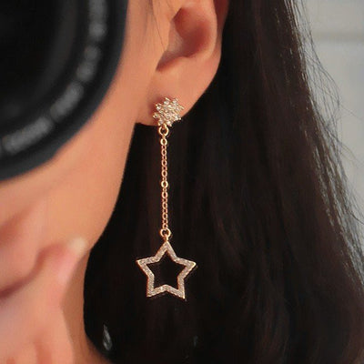 Earrings - Rhinestone Star & Moon Drop Earrings