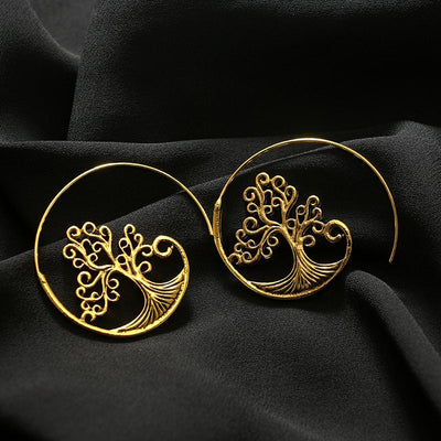 Earrings - Tree Of Life Spiral Hoop Earrings
