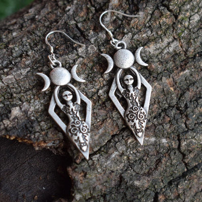 Earrings - Triple Moon Goddess Earrings