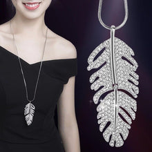 Load image into Gallery viewer, Crystal Feather Long Necklace