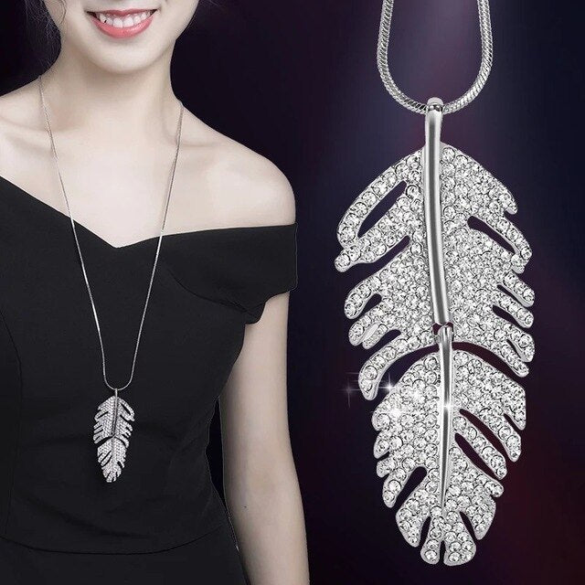 Crystal Feather Long Necklace