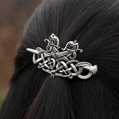 Hair Accessories - Celtic Twin Dragon Hair Barrette