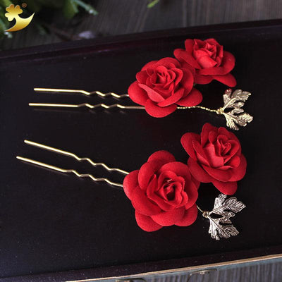 Hair Accessories - Classic Red Roses Hair Pin Set