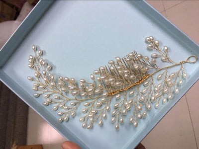Hair Accessories - Pearl Leaf Hair Comb