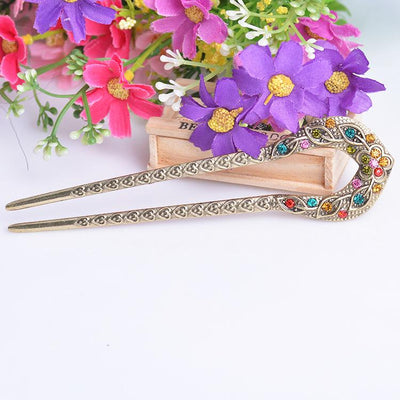 Hair Accessories - Rhinestone Oriental Flower Double Hair Stick