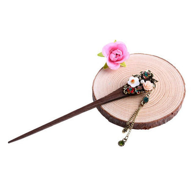 Hair Accessories - Vintage Style Rhinestone Flowers Wooden Hair Stick