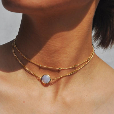 Necklace - 2 Layers Crystal Choker Necklace