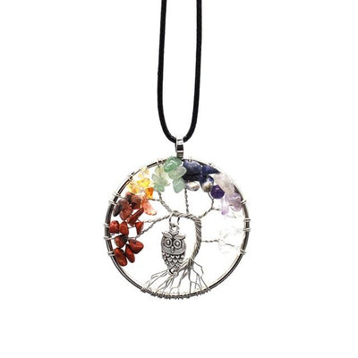 Necklace - 7 Chakra Tree Of Life & Owl Necklace