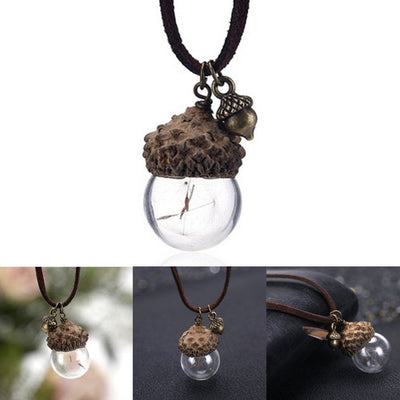 Necklace - Acorn & Dandelions Glass Necklace