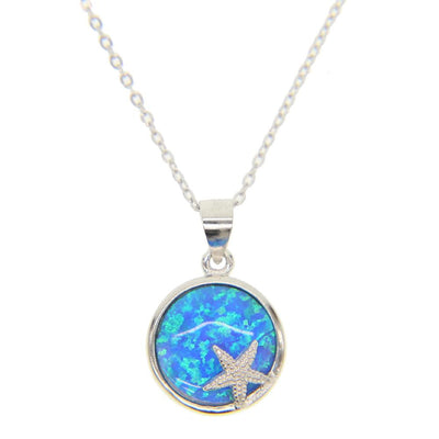 Necklace - Blue Opal Starfish Sterling Silver Necklace
