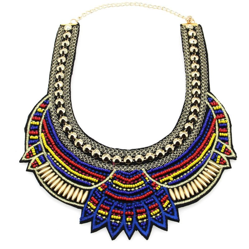 bohemian african style beads choker necklace the enchanted forest