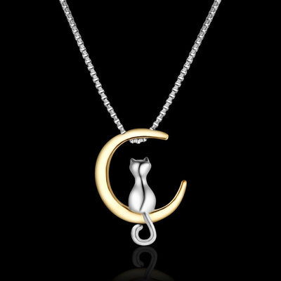 Necklace - Cat And Moon Silver Necklace