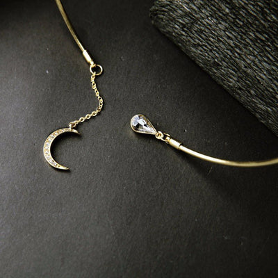 Necklace - Crescent Moon & Crystal Drop Necklace