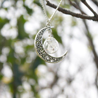 Necklace - Crescent Moon & Real Dandelion Seeds Necklace