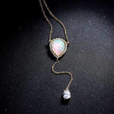 16c00a2e5f651 Delicate Opal Crystal Necklace - The Enchanted Forest