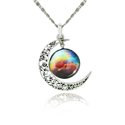 Galaxy cabochon crescent moon silver necklace the enchanted forest aloadofball Image collections