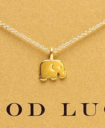 Gold elephant pendant necklace with charm card the enchanted forest necklace gold elephant pendant necklace with charm card aloadofball Choice Image
