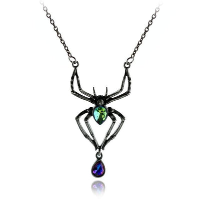 Necklace - Gothic Crystal Spider Necklace