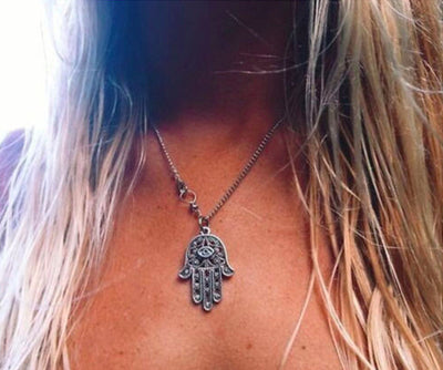 Necklace - Hamsa Necklace Kabbalah - Silver Chain Necklace - Protection & Good Luck Charm