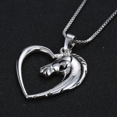 Necklace - Horse In Heart White Plated Necklace