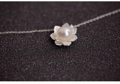 Necklace - Lotus Pearl Sterling Silver Necklace