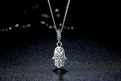 Necklace - Lucky Hamsa Hand Silver Necklace