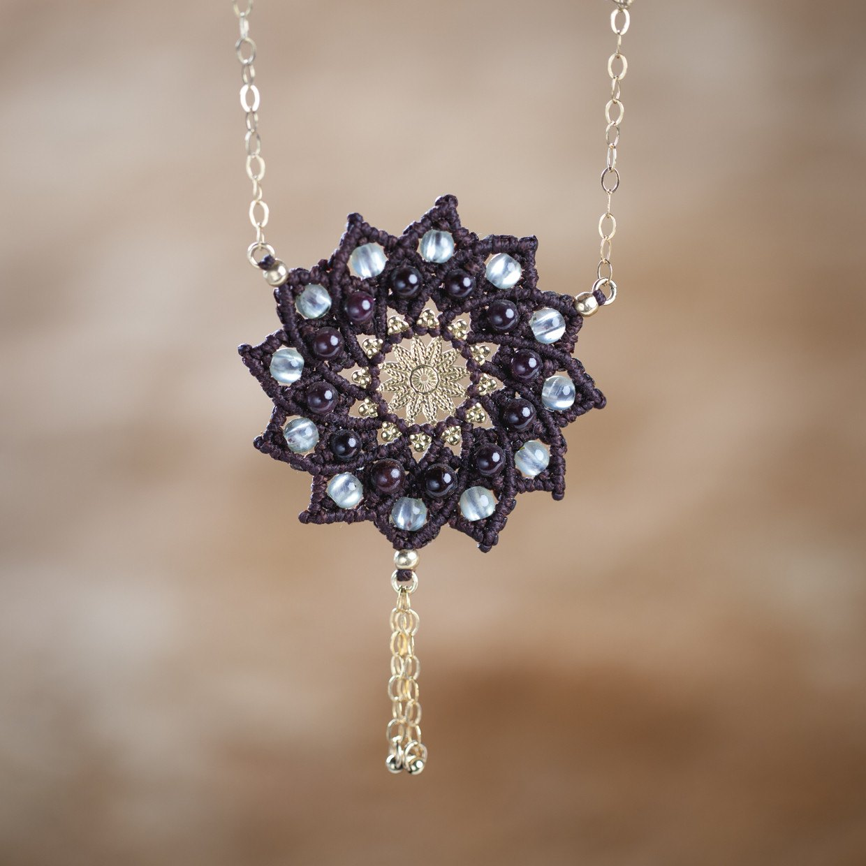transcend buddhist products third eye blue mandala necklace