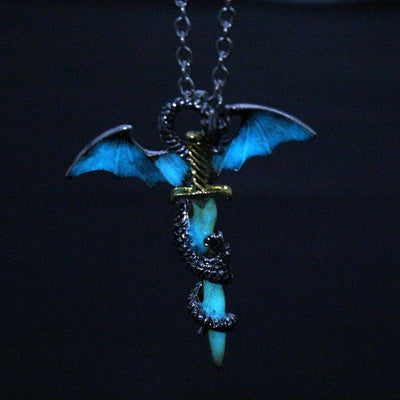 Necklace - Magical Glow In The Dark Dragon Warrior Necklace