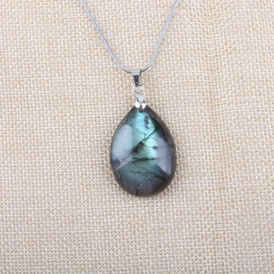Necklace - Natural Labradorite Stainless Steel Necklace