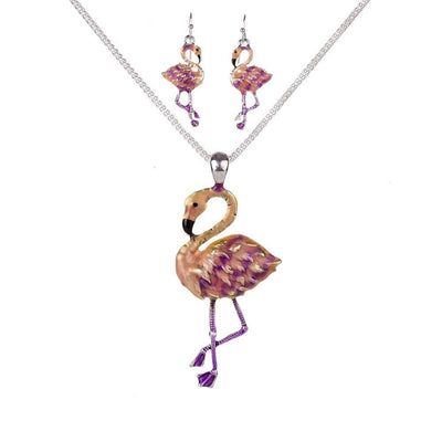 Necklace - Pink Flamingos Necklace & Earrings Set