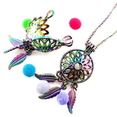 Necklace - Rainbow Dream Catcher Essential Oil Diffuser Necklace