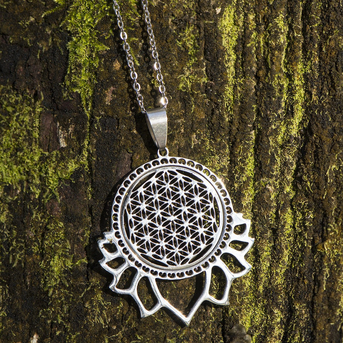 Sacred Geometry Lotus Flower Of Life Necklace The Enchanted Forest