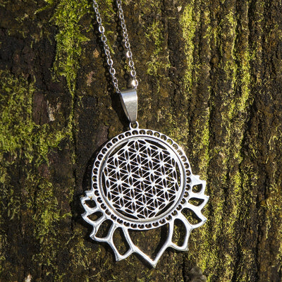 Necklace - Sacred Geometry Lotus Flower Of Life Necklace