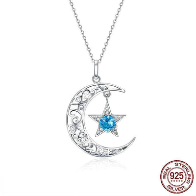 Necklace - Sparkling Moon & Star Sterling Silver Necklace