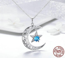 Load image into Gallery viewer, Necklace - Sparkling Moon & Star Sterling Silver Necklace