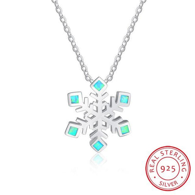 Necklace - Sparkling Snowflake Opal Silver Necklace