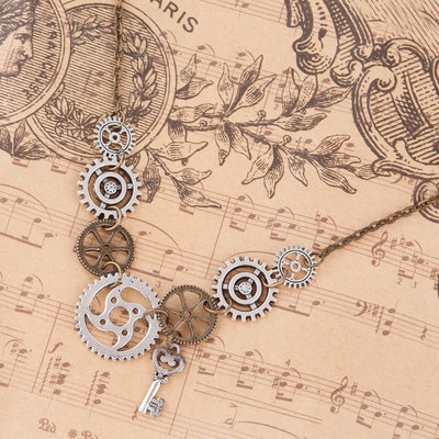 Necklace - Steampunk Gears & Key Statement Necklace
