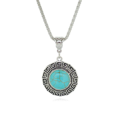 Necklace - Tibetan Silver Plated Turquoise Necklace
