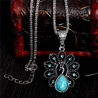 Necklace - Turquoise Peacock Crystal Necklace