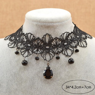 Necklace - Victorian Black Gothic Crystal Choker Necklace