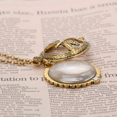 Necklace - Vintage Magnifying Glass Golden Necklace