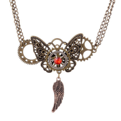 Necklace - Vintage Style Steampunk Butterfly Necklace