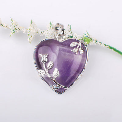 Pendant - Natural Amethyst Rose Quartz Heart Pendant