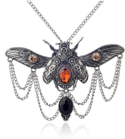 Vintage Style Steampunk Beetle Necklace