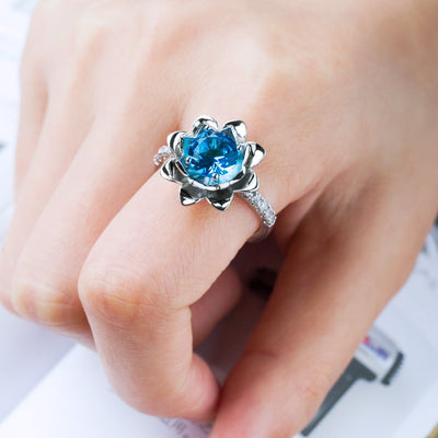 Blue Lotus Botanical Ring