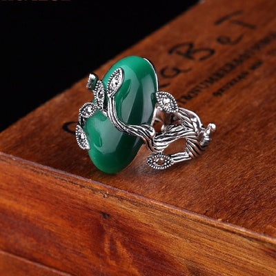 Ring - Agate Jade Silver Plated Ring