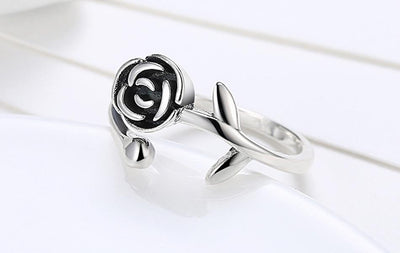 Ring - Black Rose Sterling Silver Ring