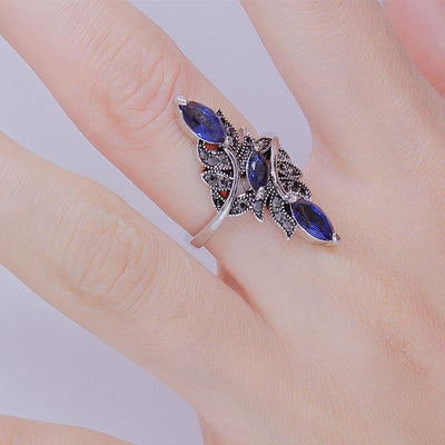 Ring - Blue Rhinestone Leaves Ring
