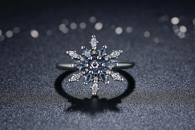 Ring - Blue Snowflake Silver Ring